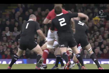 The game was marred in the first minute of play when All Blacks hooker Andrew Hore king hit Bradley Davies from behind. Photo / Skysport