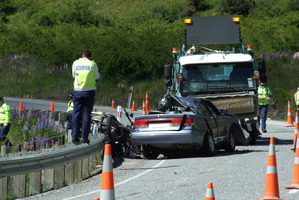Scene of double-fatality crash in the Lindis Pass.  Photo / Otago Daily Times