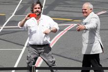 The Hobbit director Sir Peter Jackson and actor Mark Hadlow. Photo / Mark Mitchell