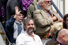 Sir Peter Jackson steps off The Hobbit aircraft that arrived in Wellington from Auckland this morning. Photo / Sarah Ivey