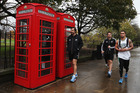 Conrad Smith (left), Richie McCaw and Liam Messam after a recovery session at Imperial College. Photo / Getty Images