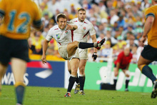 Jonny Wilkinson kicks the 2003 World Cup winning drop goal in the final against Australia. Photo / Getty Images