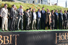 The cast and officials on the stage for the World premiere of The Hobbit. Photo