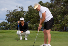 Lydia Ko (left) with Helen Chegwin at the Gulf Harbour Country Club yesterday. Photo / Sarah Ivey