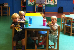 The last picture of the Weekes triplets shows Winkie (left), Jackson and Lillie at the daycare in the Doha mall hours before the deadly inferno. Photo / Supplied