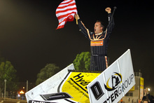 Jonathan Allard celebrates victory over fellow US sprintcar driver Donny Schatz, below, and other top racers.Photo / Victoria Pickett, IMPACT PHOTOGRAPHY