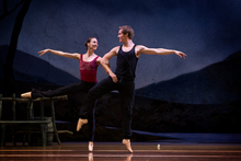 Andrew Bowman rehearses with Antonia Hewitt ahead of last night's opening of Giselle. Photo / Sarah Ivey