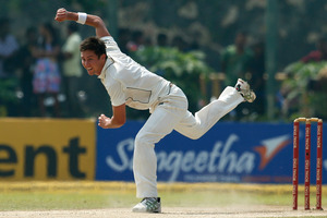 An assured Trent Boult appeals for a wicket. Photo / AP