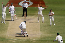A ball slips past Australia's wicketkeeper Matthew Wade on what appeared to be a catching chance against South Africa. Photo / AP