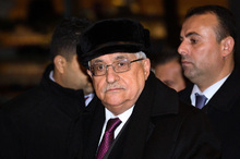 Palestinian President Mahmoud Abbas arrives at the United Nations Plaza Hotel in New York. Photo / AP