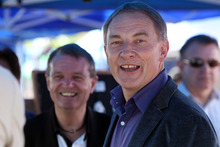 Phil Goff goes for a campaign walkabout at Otara Markets in November, 2011. Photo / Janna Dixon