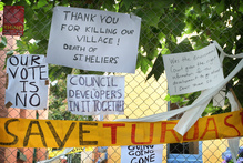 Protest signs outside the Art Deco buildings on Turua Street in St Heliers. Photo / Natalie Slade