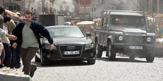 James Bond stuntman Ben Collins on the set in a car chase scene for the new film, Skyfall. Photo / Supplied