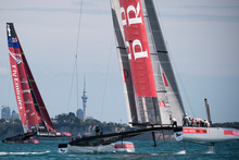 Team New Zealand tests its AC-72 boat against Prada on the Hauraki