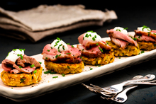 Courgette and cumin frittatas with roasted duck. Photo / Babiche Martens