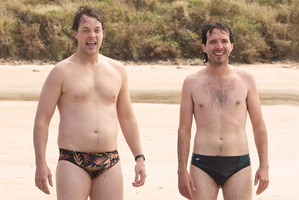 Hamish Blake and Bret Mckenzie in a scene from 'Two Little Boys'. Photo / Supplied