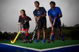 Hockey siblings (from left) Anjali Panchia and her brothers Jared and Daniel. Photo / Greg Bowker