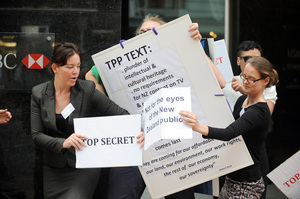 Wellington TPP Action Group protest outside the Ministry of Foreign Affairs and Trade.  Photo / File