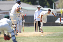 Andrew Mathieson bowls for the Central Districts Stags> photo / Duncan Brown