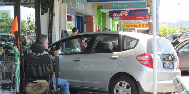 A car wedged in shop window of Etcetera Gifts was an unusual sight for shoppers in Katikati on Tuesday. Photo / Bay of Plenty Times