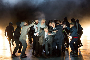 The National Theatre's modern production of Timon of Athens makes a powerful commentary on today's world. Photo / Supplied