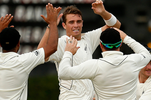 Tim Southee has bowled brilliantly throughout the series, and has figures of 4-51 from Sri Lanka's innings. Photo / AP