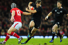 New Zealand All Blacks centre Conrad Smith runs at the Wales defence during the International Match between Wales and New Zealand. Photo / Getty Images.