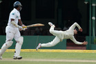 Kayne Williamson pulled off one of the best catches you are likely to see all summer on the fourth day of the Black Caps' second test against Sri Lanka yesterday. Photo / AP