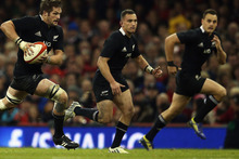Richie McCaw of the All Blacks makes a break during the international match between Wales and New Zealand. Photo / Getty Images.