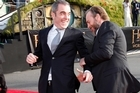 James Nesbitt and Hugo Weaving on the red carpet at The Hobbit premiere.
