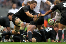 Richie McCaw in action during the All Blacks' last clash at Twickenham in 2010. Photo / Getty Images