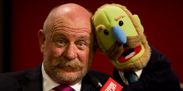 Mark Sainsbury with his replica Muppet. Photo/Richard Robinson