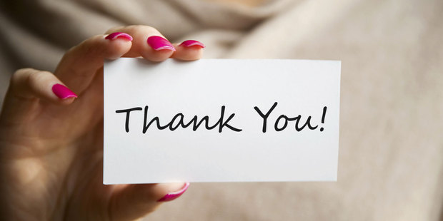 A thank you note is a nice personal touch that shows a customer you appreciate their business. Photo / Thinkstock