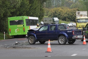 A school bus and a ute have collided at a a busy intersection. Photo / Bay of Plenty Times
