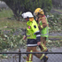 Heavy rain pours down after a tornado hit the area of Hobsonville in West Auckland this morning.  Photo / Sarah Ivey