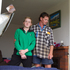Troy Gold (R) and his daughter, 12-year-old Josy Gold in their home after a tornado hit the area of Hobsonville in West Auckland this morning. Photo / Sarah Ivey
