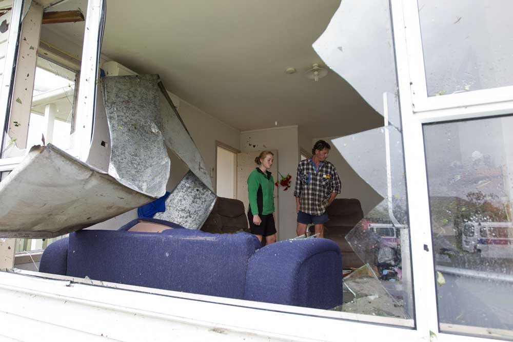Devastation in Hobsonville after a tornado ripped through the area on Thursday.