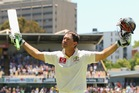 Ricky Ponting acknowledges the crowd after he was dismissed playing his last international match. Photo / Getty Images