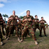 Departing NZDF members do a last Haka to Australian Commanding Officer Lieutenant Colonel Brenton Gasteen and Deputy Commander Major Sydney Dewes NZDF at Honiara Airport, Solomon Islands.  Photo / Dean Purcell