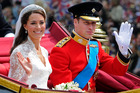 Britain's Prince William, left, and his wife Kate, the Duchess of Cambridge, are expecting their first child.  Photo / AP