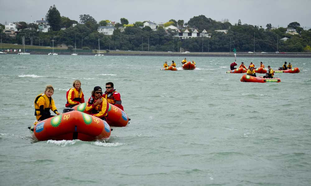 Conditions were challenging for all of the 1500 swimmers in the Auckland State Harbour Crossing, with winds of up to 30 knots making the water extremely choppy.