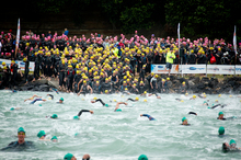 The 1500 competitors defy the rough water as the Harbour Crossing in Auckland gets under way at Bayswater.  Photo / Dean Purcell