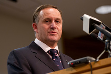 Prime Minister John Key apologising to the famillies of the Pike River Coal Mine disaster victims during his post-Cabinet press conference at the Beehive in Wellington. Photo / Mark Mitchell