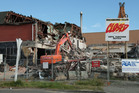 Demolition of the earthquake damaged Richmond Working Men's Club, Stanmore Road. Photo / Geoff Sloan