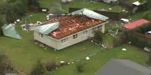 Loading The tornado ripped the roof from this house in Hobsonville. Photo / One News