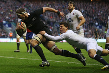Kieran Read runs through to score a try during the match against England. Photo / Getty Images
