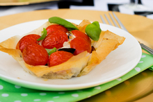 Delicious tarts filled with roasted eggplant, locally produced mozzarella and sweet small heirloom tomatoes. Photo / Babiche Martens