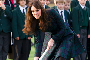 Kate, the Duchess of Cambridge, played hockey during her visit to St Andrew's School.Photo / AP