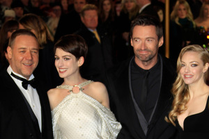 Russell Crowe, Anne Hathaway, Hugh Jackman and Amanda Seyfried arrive on the red carpet for the World Premiere of 'Les Miserables' at a London cinema. Photo / AP