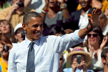 At rallies for President Barack Obama, blacks, whites, Asians and Hispanics all turned up, in contrast to Republican rallies where there were mainly whites. Photo / AP